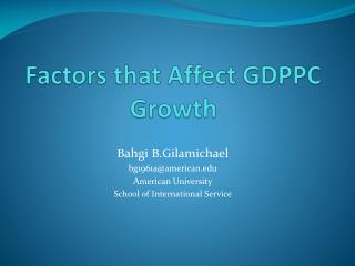Factors that Affect GDPPC Growth