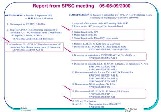 Report from SPSC meeting    05-06/09/2000
