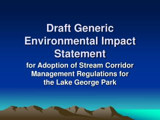 Draft Generic Environmental Impact Statement