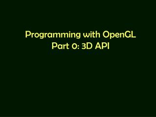 Programming with OpenGL Part 0: 3D API