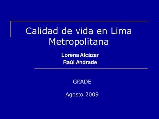 Calidad de vida en Lima Metropolitana