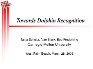 Towards Dolphin Recognition
