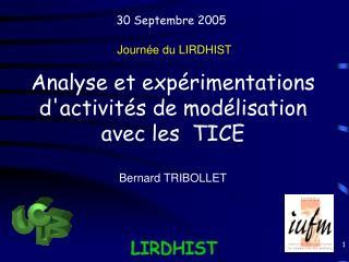 Analyse et expérimentations d'activités de modélisation avec les  TICE