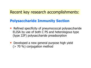 Recent key research accomplishments: