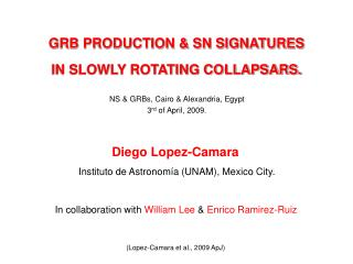 GRB PRODUCTION & SN SIGNATURES IN SLOWLY ROTATING COLLAPSARS.