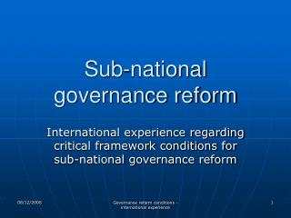 Sub-national governance reform