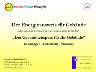 Der Energieausweis f�r Geb�ude �Ausweis �ber die Gesamtenergieeffizienz eines Geb�udes�