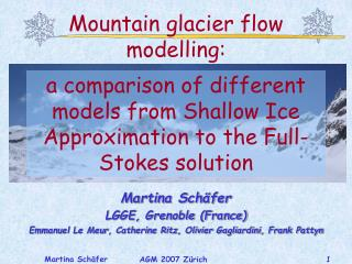 Mountain glacier flow modelling: