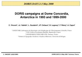 DORIS campaigns at Dome Concordia, Antarctica in 1993 and 1999-2000