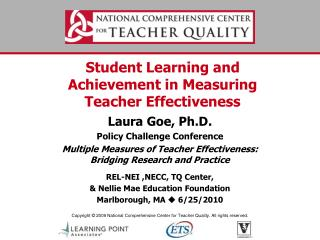 Student Learning and Achievement in Measuring Teacher Effectiveness