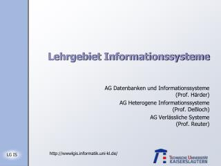 Lehrgebiet Informationssysteme