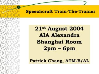 Speechcraft Train-The-Trainer