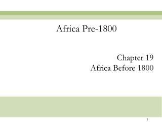 Africa Pre-1800