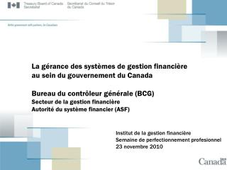 Institut de la gestion financière Semaine de perfectionnement profesionnel 23 novembre 2010