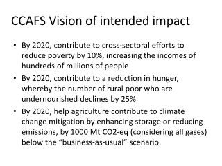 CCAFS Vision of intended impact