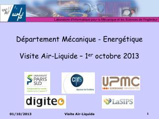 Département Mécanique - Energétique Visite Air-Liquide – 1 er  octobre 2013