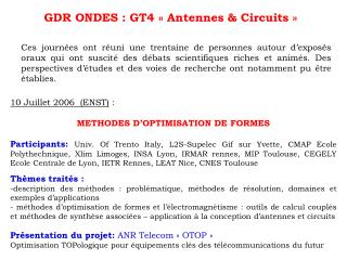 GDR ONDES  :  GT4 � Antennes & Circuits �