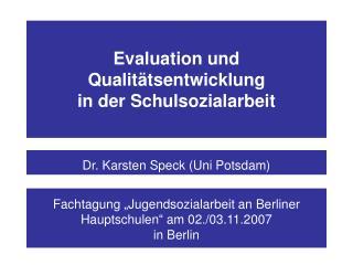 Evaluation und Qualit tsentwicklung  in der Schulsozialarbeit