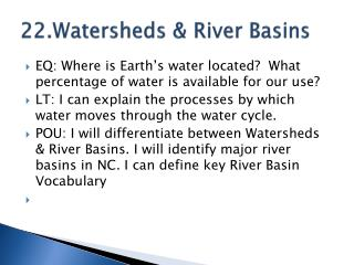 22.Watersheds & River Basins