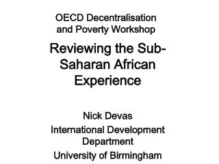 OECD Decentralisation  and Poverty Workshop