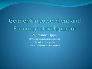 Gender Empowerment and Economic Development
