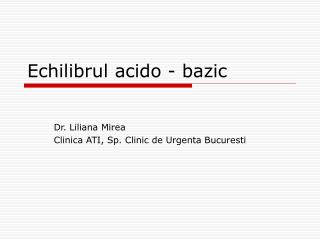 Echilibrul acido - bazic