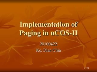 Implementation of Paging in uCOS-II