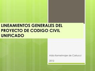 LINEAMIENTOS GENERALES DEL PROYECTO DE CODIGO CIVIL UNIFICADO