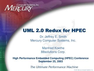 UML 2.0 Redux for HPEC