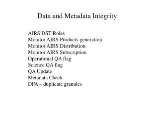 Data and Metadata Integrity