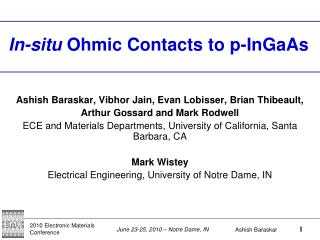 In-situ  Ohmic Contacts to p-InGaAs