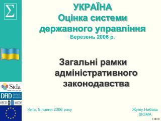 УК Р АЇНА Оцінка системи  державного управління  Березень 2006 р.