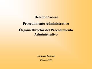 Debido Proceso Procedimiento Administrativo Órgano Director del Procedimiento Administrativo