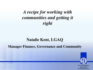 A recipe for working with communities and getting it right