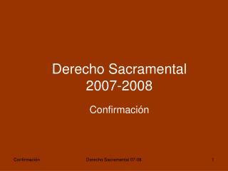 Derecho Sacramental  2007-2008