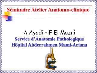A Ayadi – F El Mezni Service d'Anatomie Pathologique Hôpital Abderrahmen Mami-Ariana