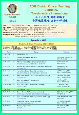 2009 District Officer Training District 67 Toastmasters International 九十八年度 國際演講會 台灣地區總會 總會幹部訓 練