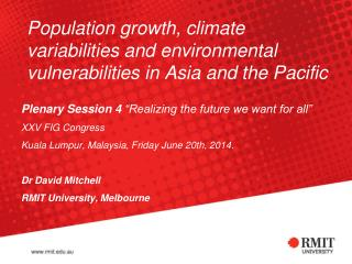 Population growth, climate variabilities and environmental vulnerabilities in Asia and the Pacific