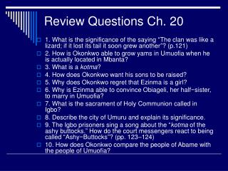 Review Questions Ch. 20