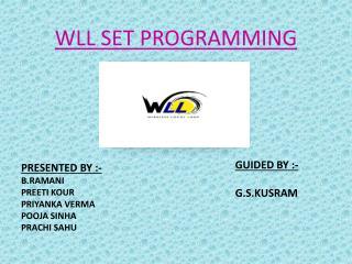 WLL SET PROGRAMMING