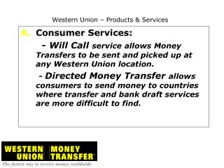 Western Union – Products & Services