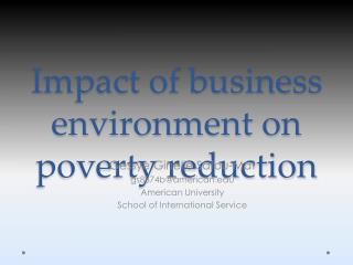 I mpact of business environment on poverty reduction
