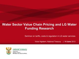 Water Sector Value Chain Pricing and LG Water Funding Research