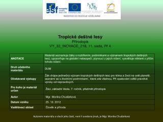 Tropické deštné lesy Přírodopis VY_32_INOVACE_218 ,  11.  sada,  Př  4