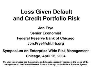 Loss Given Default  and Credit Portfolio Risk