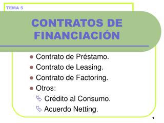 CONTRATOS DE FINANCIACI�N