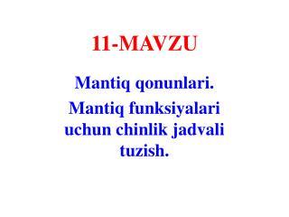 11- MAVZU