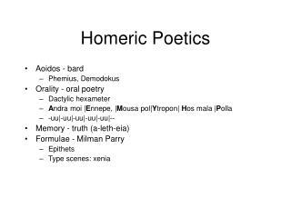 Homeric Poetics