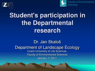 Student's participation in the Departmental research
