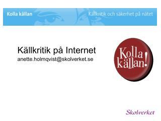Källkritik på Internet anette.holmqvist@skolverket.se